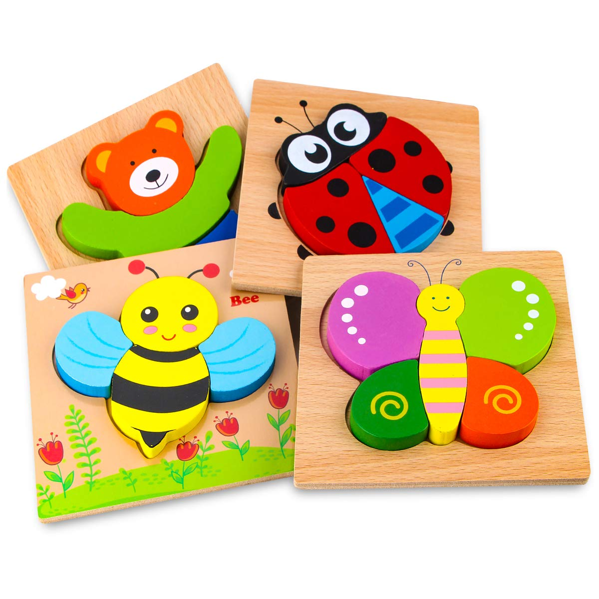 SKYFIELD Wooden Animal Jigsaw Puzzles for Toddlers 1 2 3 Years Old, Boys &Girls Educational Toys Gift with 4 Animals Patterns, Bright Vibrant Color Shapes (Animal)