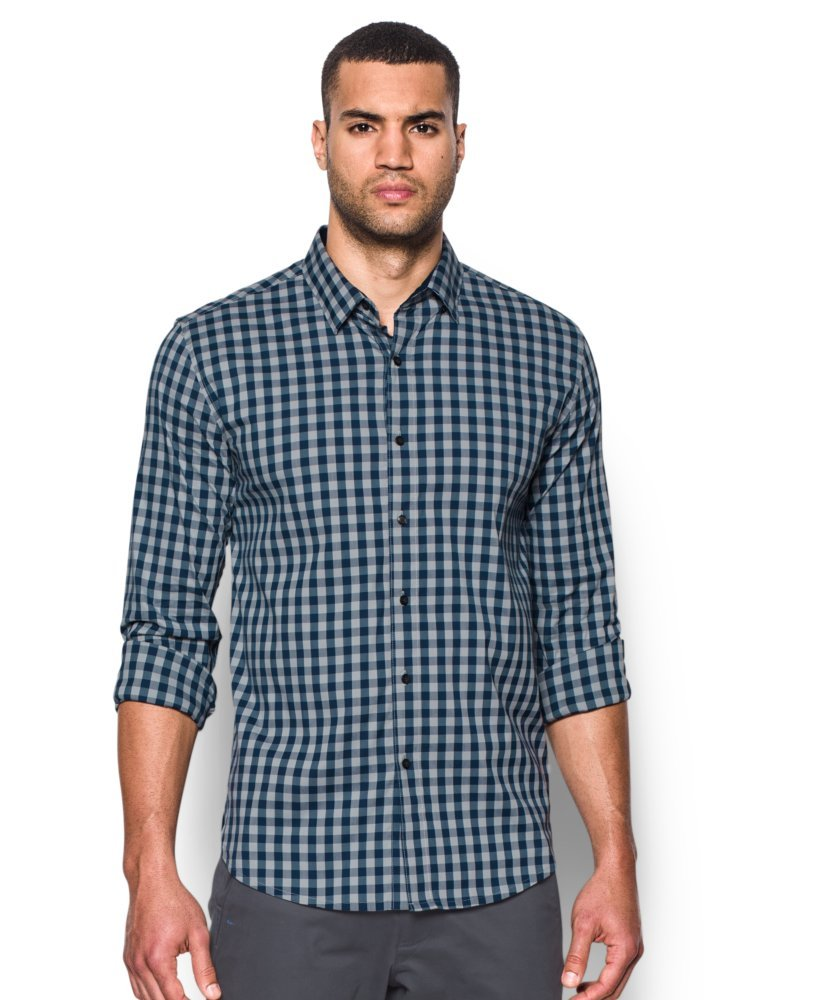 Under Armour Men's Performance Woven Shirt, Overcast Gray/Academy, Small by Under Armour (Image #1)
