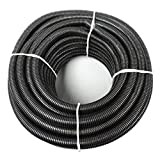 1.5'' x 100' Flexible Polyethylene Split Tubing - Black Corrugated Wire Loom