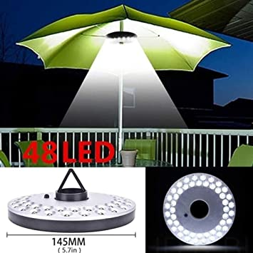 LAMPSJN Paraguas Polo Luz del Parasol con la batería lámpara Mate ...