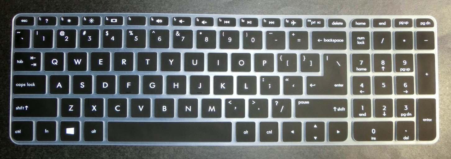 USレイアウトキーボードプロテクタースキンカバーfor HP 15-ab 15-ac 15-ae 15-af 15-anシリーズなど、15-ac121dx、ab220nr、15-af175nr、15-af120nr、15-an050nr、15-an051dx B017IMZLUQ semi-black  semi-black