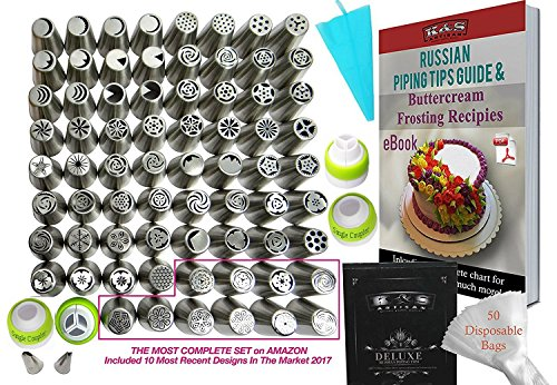 127 pcs Russian Piping Tips Set Icing tips COMPLETE Cake Decoration tips Cake Cupcake Decorating Supplies 70 Russian Nozzles 4 Couplers 2 Leaf Tips 50 Baking Pastry Bags 1 Silicone Bag + STORAGE BOX!
