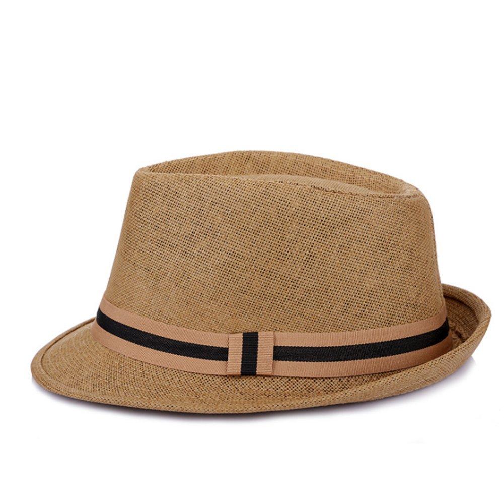 Hosaire Unisex Paper Straw Crushable Foldable Summer Panama Fedora Hat with Band and Adjustable Sweatband (White)