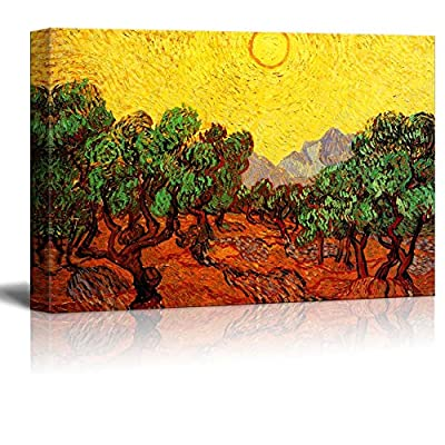 Olive Trees with Yellow Sky and Sun by Van Gogh