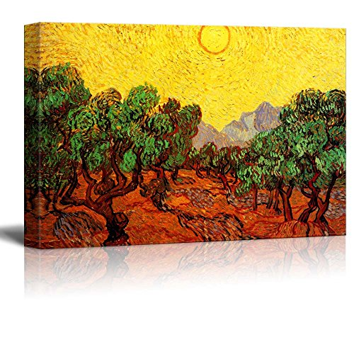 (Olive Trees with Yellow Sky and Sun by Van Gogh Giclee Canvas Prints Wrapped Gallery Wall Art | Stretched and Framed Ready to Hang - 24