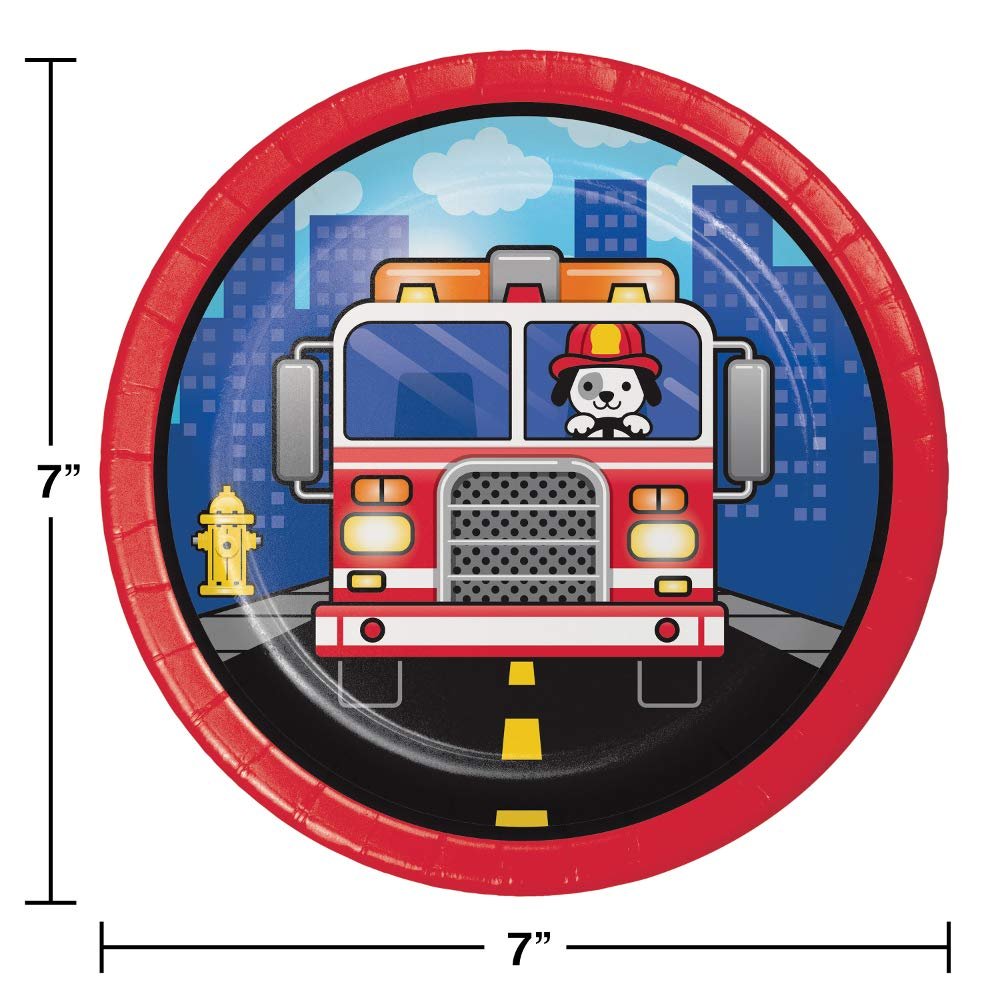 Puppy Fire Truck Firefighter Birthday Party Supplies Bundle Pack of Dinner Plates Snack Plates and Napkins for 16 Guests plus Bundle of Fun Sticker