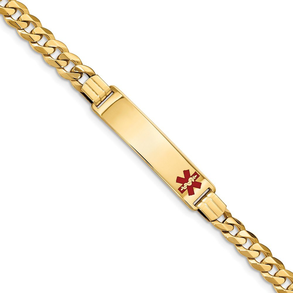 14k Yellow Gold Curb Chain ID Bracelet with Secure Lobster 8 Inch