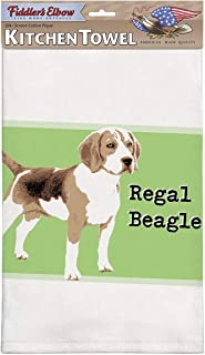 product image for Fiddler's Elbow Regal Beagle Beagle Kitchen Towel, 100% Cotton Dog Themed Towel, Eco-Friendly Dish Towel with Hanging Loop, Beagle Lover Gift