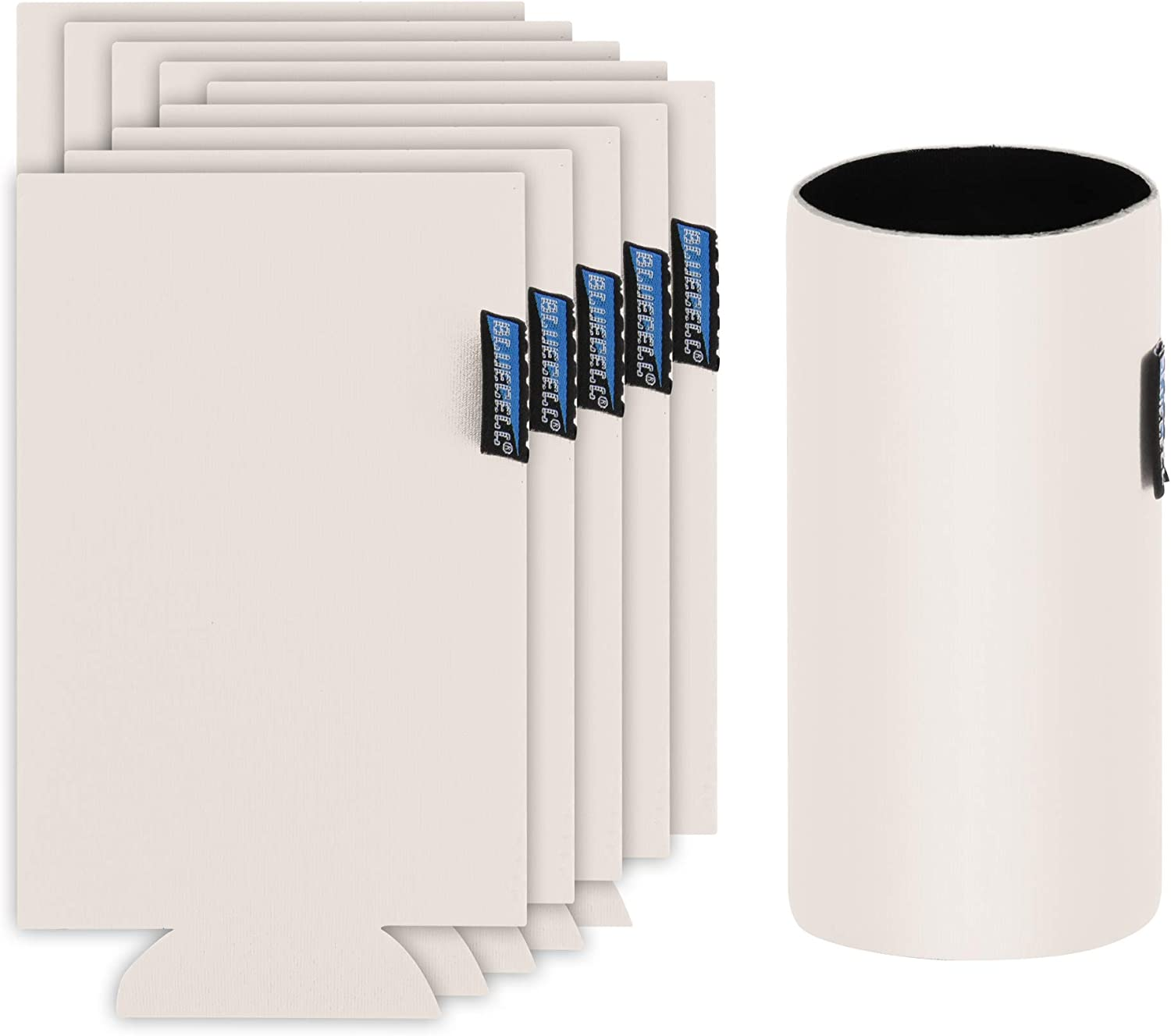 Bluecell 10pcs Beige Color Blank Neoprene Insulators Slim Can Cooler DIY Beer Sleeves Perfect For 12oz Slim Red Bull Michelob Ultra Spiked Seltzer Truly White Claw (Beige)