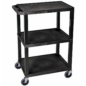 Luxor WT34S 3 Shelves Tuffy Utility Cart - Black