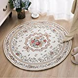 Ustide Cotton Round Area Rugs Red Rose Living Room Carpet Non-Slip Floor Mat for Bedroom
