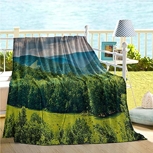 Landscape Swaddle Blanket,View of Mountains in Potomac Highlands of West Virginia Rural Scenery Picture,Sofa Sleeper Queen Forest Green 40