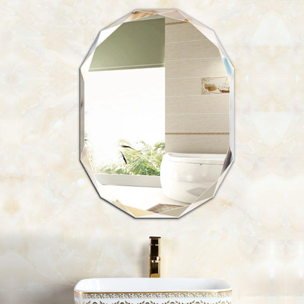 LEI ZE JUN UK- Dekoratives Metallspiegel-Wand-Aufkleber-ovales Elegantes Hauptdekor-Make-up, das Badezimmer-Spiegel ankleidet Wandspiegel (größe   60cm80cm)