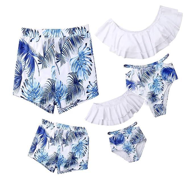 Loalirando Traje de Baño Familiar Bañador para Familia Mamá Papá Niña Niño Familia Bikini de 2 Piezas Estampado de Hojas Bikini Cintura Alta