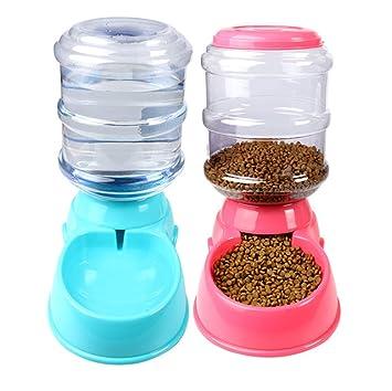 HYFZY Alimentador Automático para Mascotas Perro Gato Bebedero Y Comedero Plástico Alimentario 3.8L