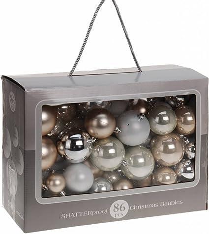 Christbaumkugeln Silber Matt.86 Weihnachtsbaumkugeln Silber Beige Glanzend Glitzernd Matt Bis 7cm Christbaumkugeln Dekokugeln