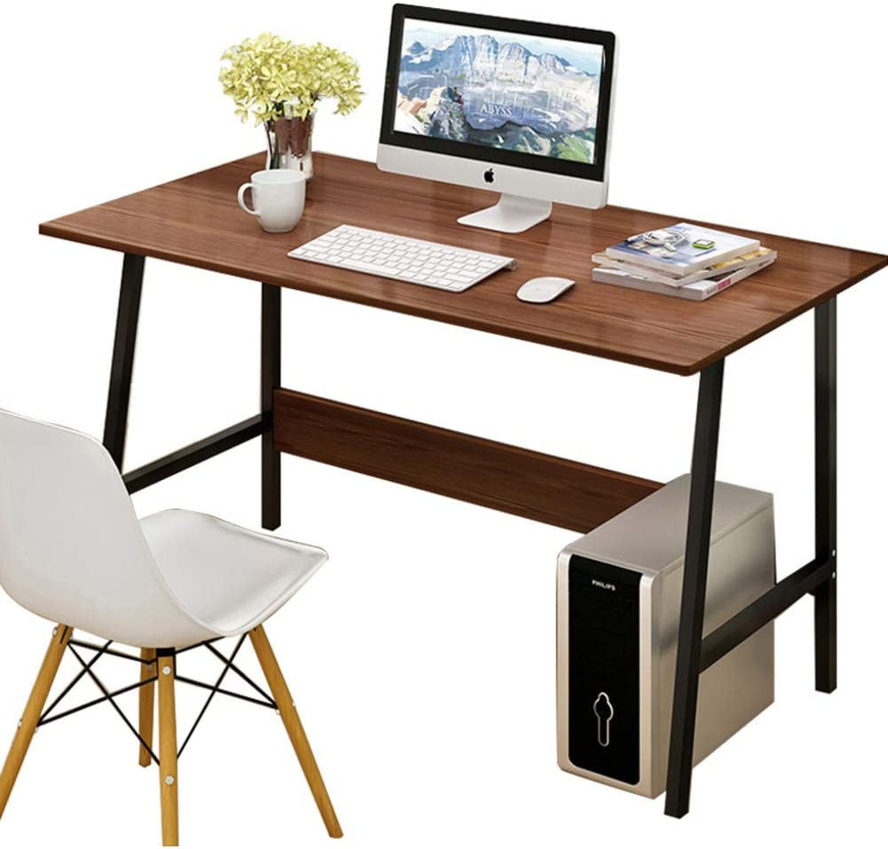 Computer Writing Desk, Industrial Style Desk with Metal Shelf, PC Laptop Simple Study Desk for Home Office -i 100x45cm(39x18inch)
