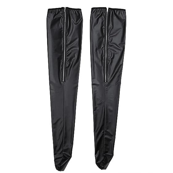b45c01c6943 FEESHOW Women s Wet Look Thigh High Stockings Zipper Back (Black Zipper)
