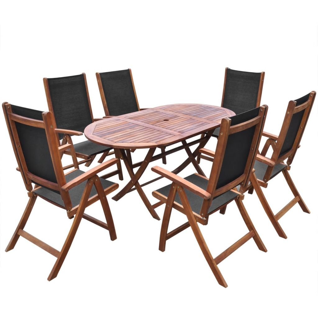 Festnight 7 Piece Wooden Outdoor Patio Dining Set Oval Folding Table with 6 Foldable Five Positions Adjustable Chairs Acaia Wood Outdoor Furniture Space Saving