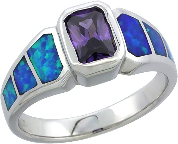 """Details about  /Solid 925 Sterling Silver Natural Opal /& Amethyst Pendant /& 16/""""18/"""" or 20/"""" Chain"""