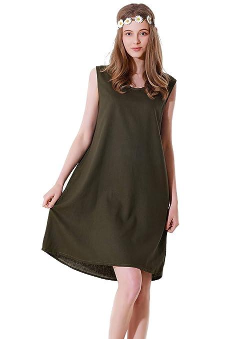 Falda de Verano de Encaje sin Mangas de algodón Verde Militar para ...
