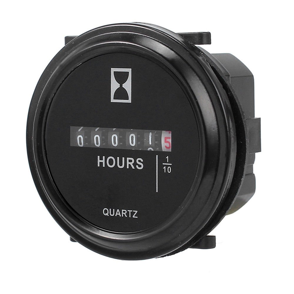 Simply Silver Hour Meter - durable Hour Meter for Marine Boat Engine 2'' Round Gauge 12v 24v -Fast shipping
