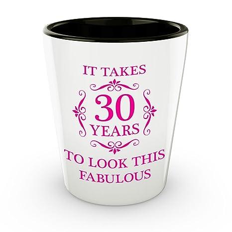 Amazon.com: 30th Cumpleaños Shot vidrio – It Takes 30 años ...