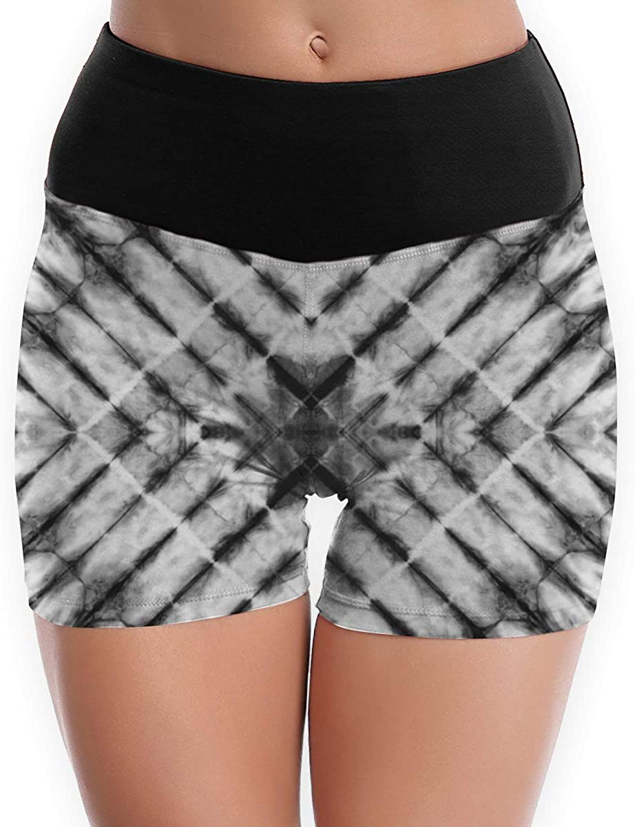 SYAyeah Grey Tie Dye Women Workout Yoga Shorts Tight Yoga Pants Tummy Control S