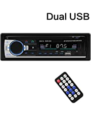 SARCCH Multimedia Car Stereo – Single Din LCD, BT Audio and Calling, Built-in Microphone, MP3 Player, WMA, USB, Auxiliary Input, AM/FM Radio Receiver, Wireless Remote Control