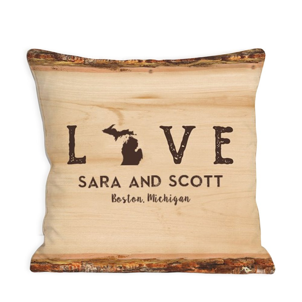 Personalized Love Established Throw Pillow - Michigan, 14.5'', Removable Sham
