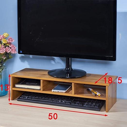 GCX&LV Madera sólida Soporte Monitor,Oficina Organizador Monitor ...