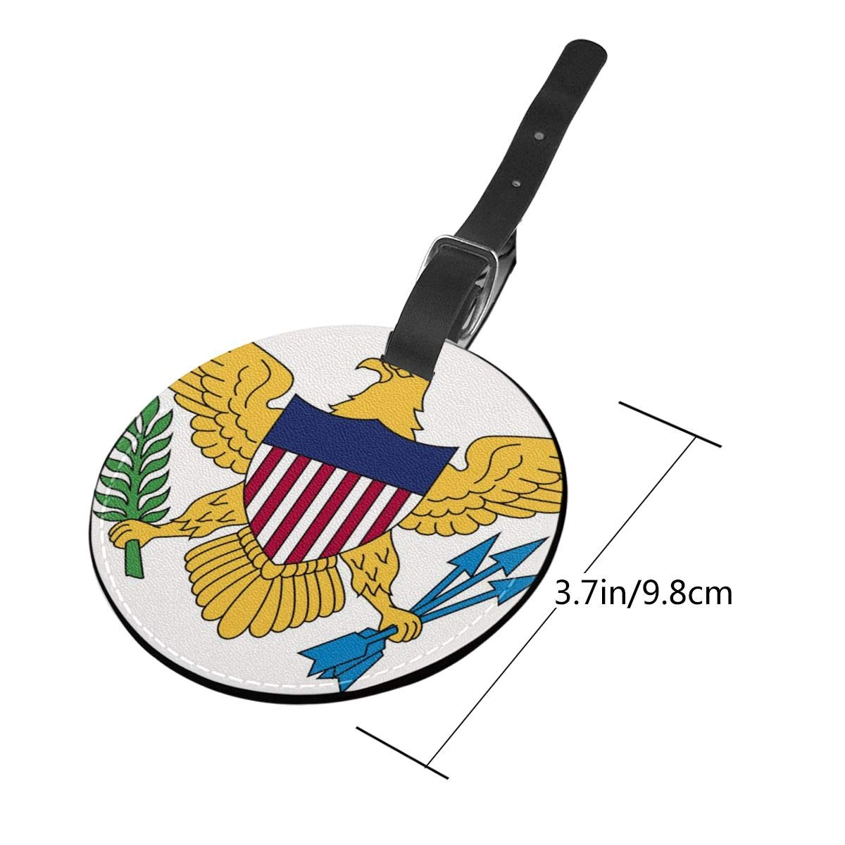 Simoner Flag of The United States Virgin Islands Round PU Leahter Luggage Tags Privacy Protection Travel Bag Labels Suitcase Tags