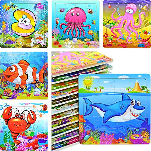 Vileafy Ocean Party Favors for Girls & Boys, Mini Puzzles for Kids, 12-pack with Individual Storage Tray & Organza Bag ()