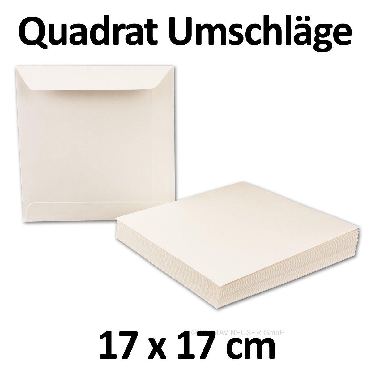 100 Stück // Umschläge quadratisch, Opal-Weiß, 17 x 17 cm, 120 g/m² // Naßklebung // flache Klappe // Serie O.P.A.L von GUSTAV NEUSER®