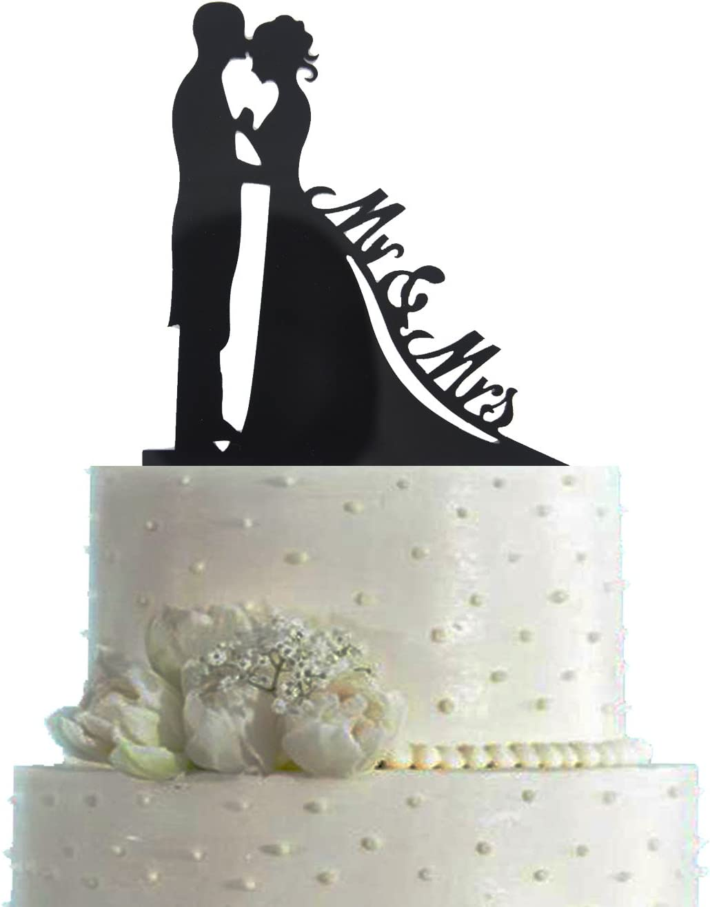 ArRord Mr /& Mrs Cake Topper with Bride and Groom Sweet Love Acrylic Silhouette Wedding Cake Topper