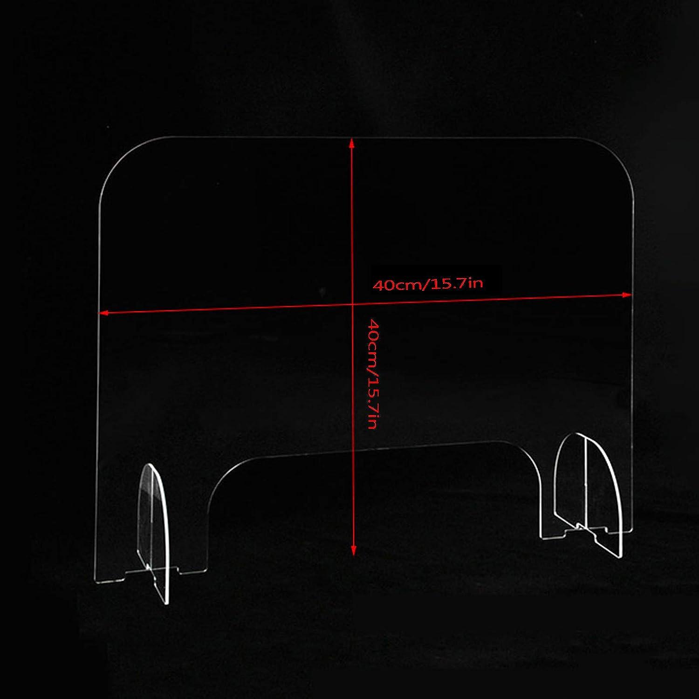 Generico Barriera Protettiva Separatore da Scrivania 40x40cm Pannelli Divisori per Interni Barriera Plexiglass Banco da Lavoro Divisorio per Ufficio Parasputi Parafiato Plexiglass Trasparente