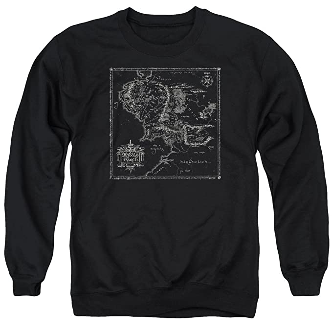 Crewneck Sweatshirt: Lord of The Rings- Middle Earth Map at ...