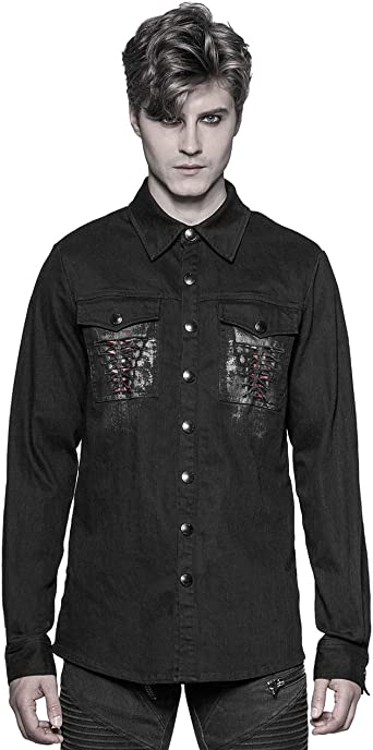 Punk Rave - Camisa de Manga Larga para Hombre, diseño gótico Steampunk, Color Negro: Amazon.es: Ropa y accesorios