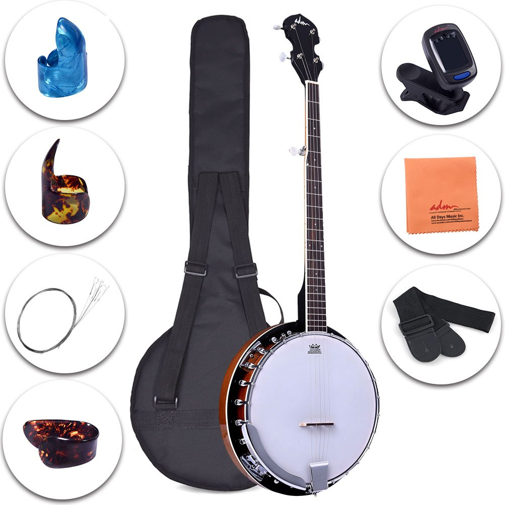 ADM 5-String Banjo 24 Bracket with Closed Solid Wood Back and Geared 5th Tuner, Beginner Pack with Bag, Tuner, Strap, Picks and Strings JB352