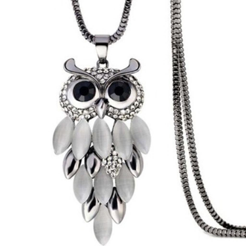 iLH® Clearance Deals Owl Pendant Necklace Women Vintage Glass Cabochon Necklace Jewelry by ZYooh (C) (A)