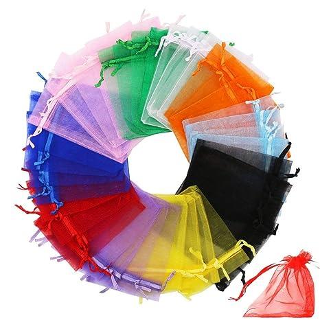 INTVN Bolsas de Organza, Drawstring Organza Bag Bolsas de Regalo Favores de Fiesta de Boda Bolsas de joyería, 7 x 9 cm, 200 Piezas, 10 Colores