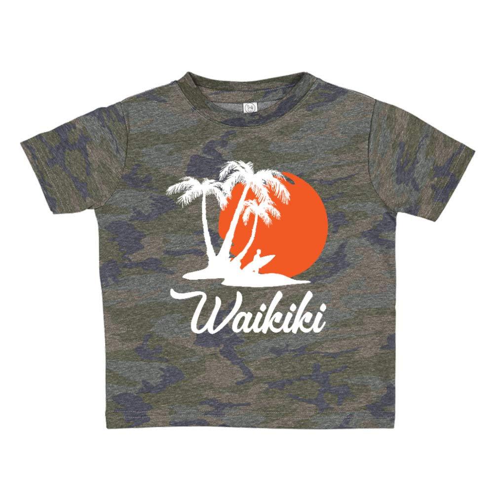 Waikiki Hawaii Beach Sunset Surfer Toddler//Kids Short Sleeve T-Shirt
