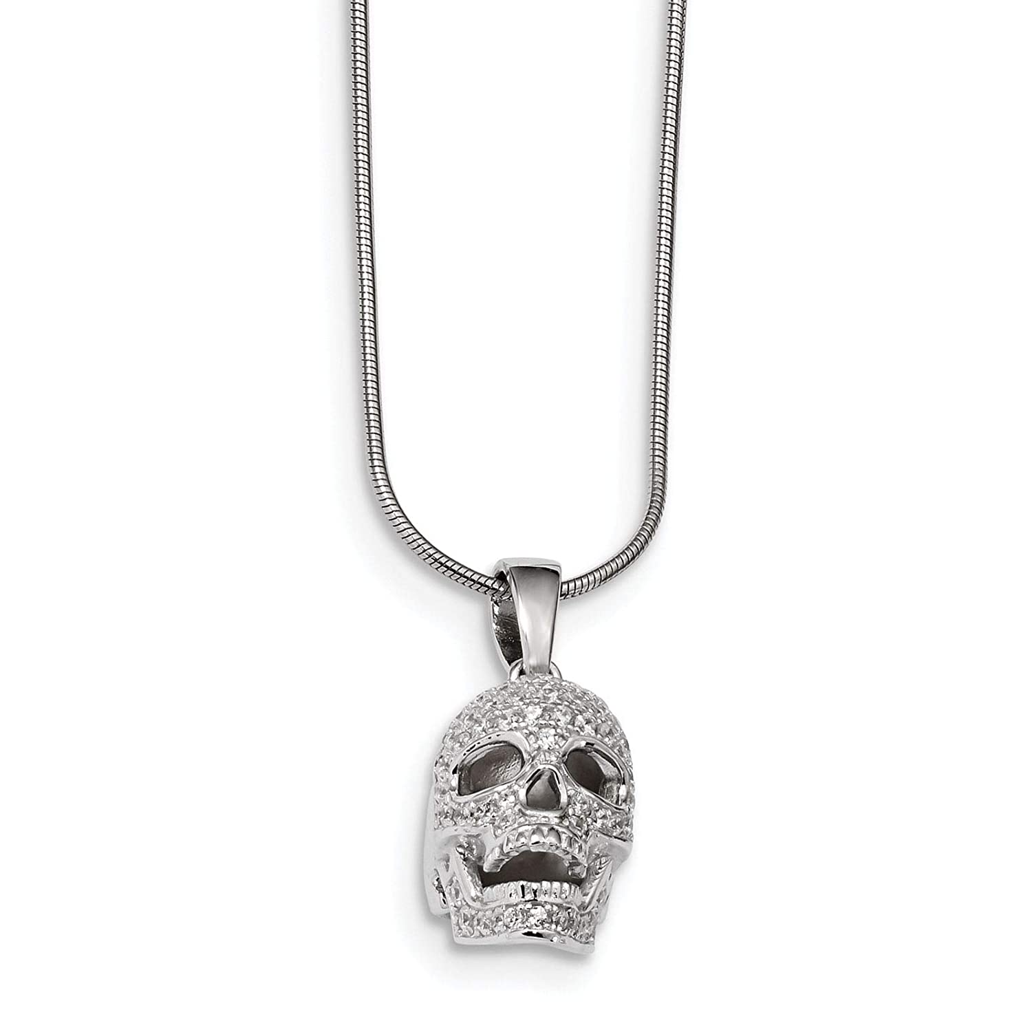 Brilliant Embers Sterling Silver Rhodium-plated Polished CZ Skull Pendant Necklace 18 2 Extender