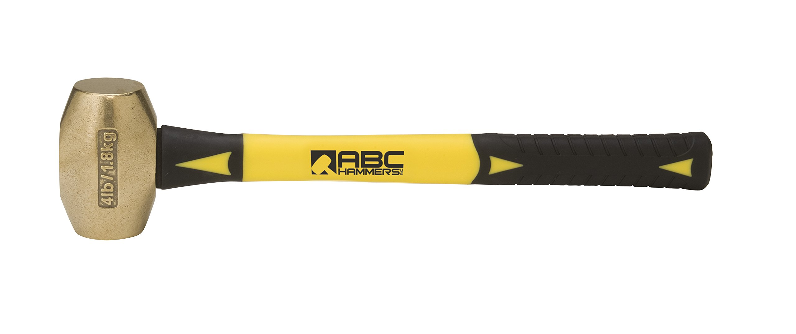 ABC Hammers ABC4BF Brass Hammer with 14-Inch Fiberglass Handle, 4-Pound by ABC Hammers