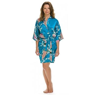 Lovekimono Suki kimono robe de chambre femme en soyeux satin: Amazon ...