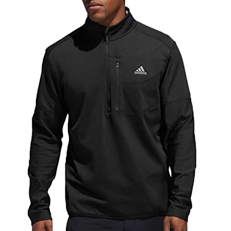 san francisco 78083 2d5f2 adidas Golf 2019 Mens Climawarm 1 4 Zip Gridded Pullover Golf Sweater Black  Small