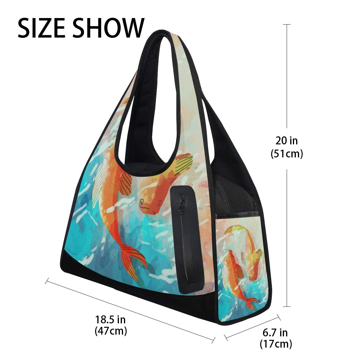 Carp Pond Women Sports Gym Totes Bag Multi-Function Nylon Travel Shoulder Bag