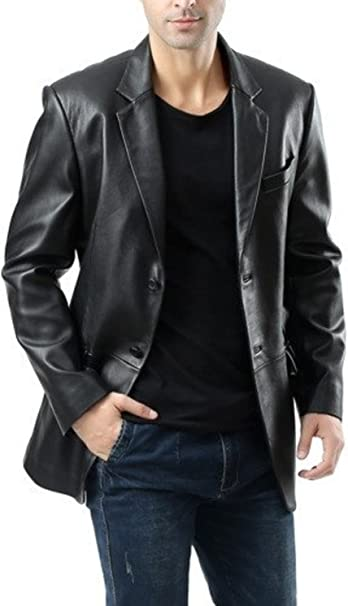 Leather Hubb Black Heather New Zealand Lambskin Mens Leather Blazer//Jacket//Trench 5XL