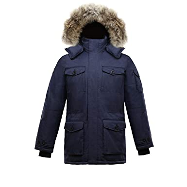 749e84e84d Triple F.A.T. Goose SAGA Collection | Eldridge Mens Hooded Goose Down Jacket  Parka with Real Coyote Fur at Amazon Men's Clothing store:
