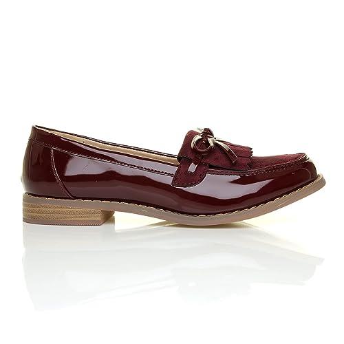 ShuWish UK Milan - Mocasines de Material Sintético Para Mujer Rojo Granate, Color Rojo, Talla 3 UK: Amazon.es: Zapatos y complementos